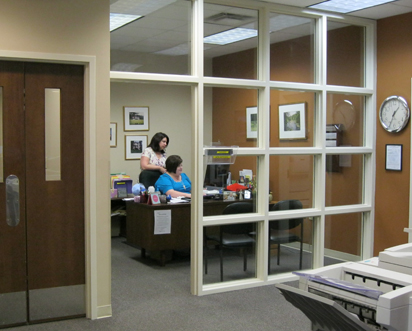 Employees work in an office checking records